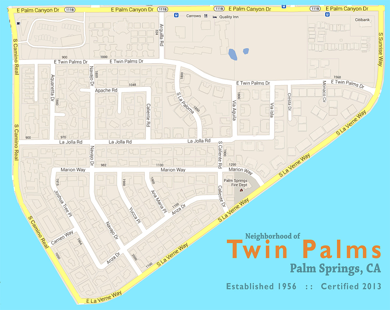 map of Twin Palms Palm Springs